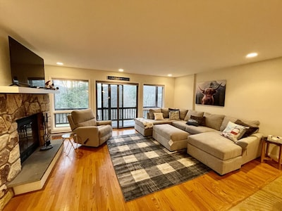 Open Living Room w Fireplace & Private Terrace