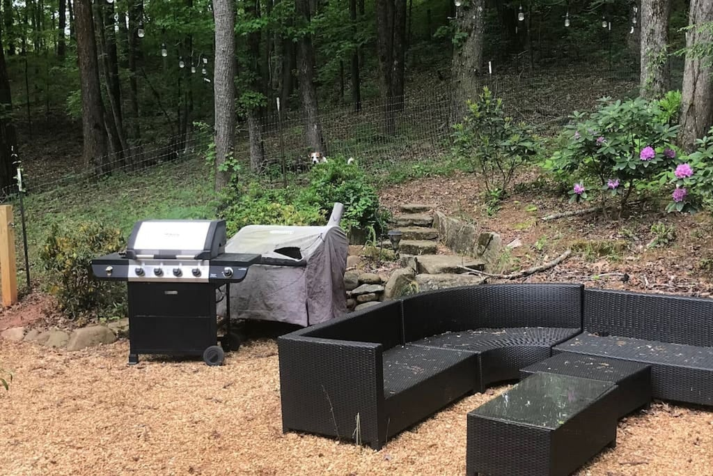 Grill and outdoor seating