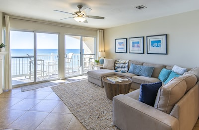 Amazing living room view from a sectional to fit the whole family!