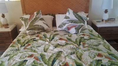Tommy Bahama comforter and lovely new bed purchased Dec. 2020
