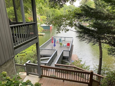 View of lake and boathouse from driveway
