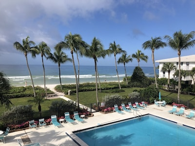 Beach and pool view from the unit