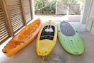 Tandem 3 man kayak, 2 stand up paddle boards