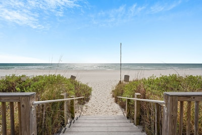 Steps from the beach and ocean.  Everything you need for a great vacation.