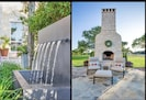 Patio fountain and fireplace