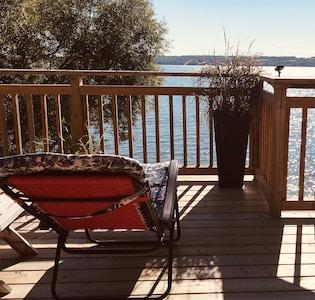 Lake Front Cottage in Bailieboro, Ontario Deck facing RIce Lake, Ontario