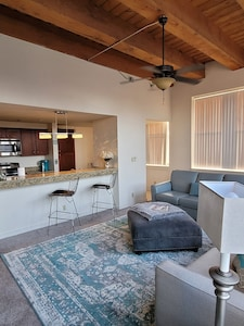 beautiful spacious living room with vaulted ceilings and a view of st paul
