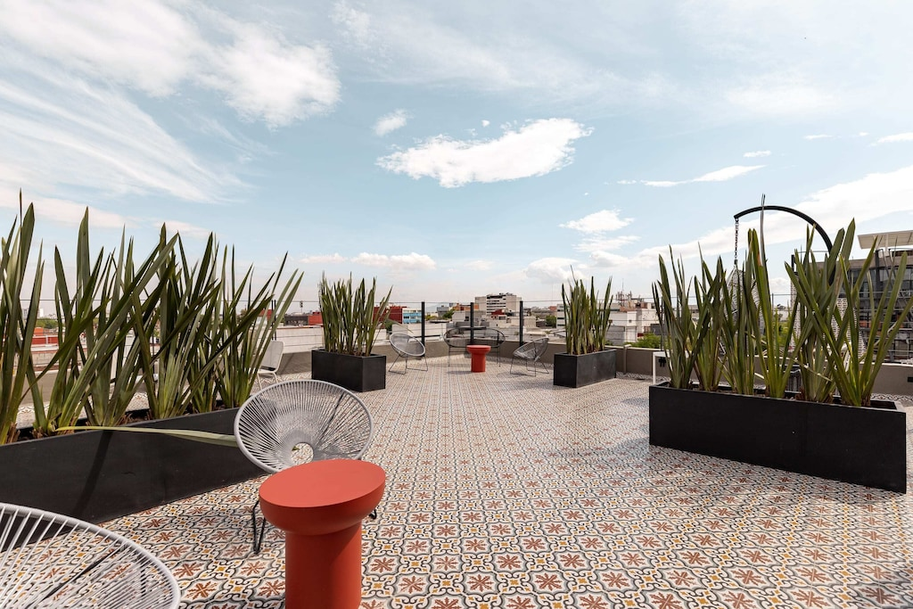 VRBO Mexico City: Mid century modern style rooftop garden with plants and seating