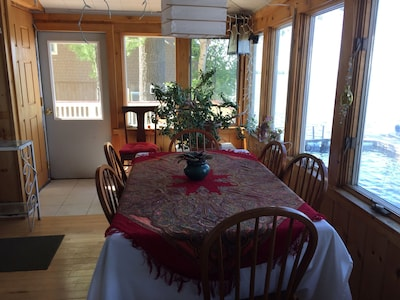 Dining area overlooks the lake