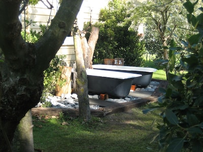 Out door baths, just turn the tap and water flows. Bath pamper package available