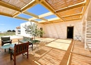 The interior courtyard with lounge and lemon trees