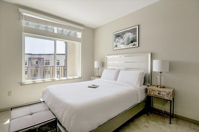 Bedroom with Queen Sized Bed + Fresh Linens