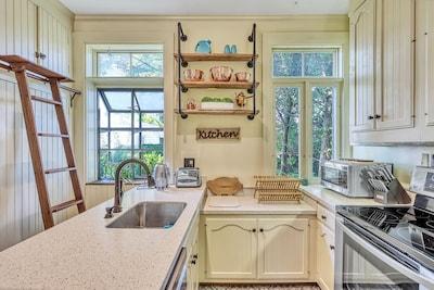 Kitchen with original cabinet & ladder