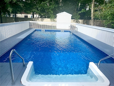 Saltwater pool with deck