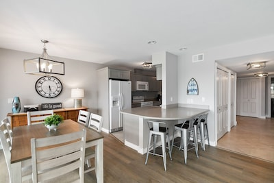 Multiple dining areas open to kitchen