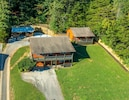 View from a drone of the two houses and covered patio