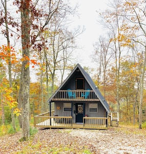 Front of the cabin during  fall colors