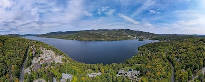 Drone shot of Lac and Mont Tremblant Views